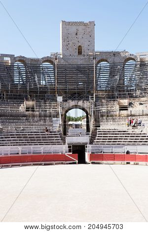 Section of seating area, Roman Amphitheatre, Arles, France