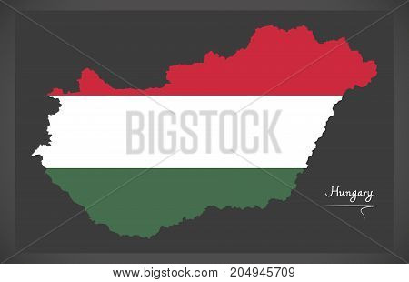 Hungary Map With Hungarian National Flag Illustration