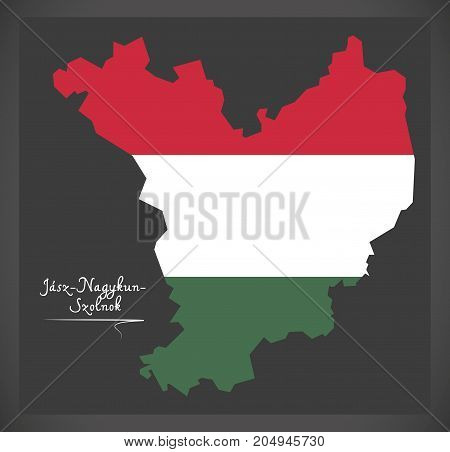 Jasz-nagykun-szolnok Map Of Hungary With Hungarian National Flag Illustration