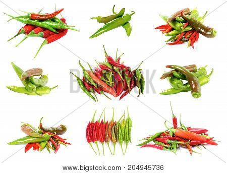Collection of Various Fresh Shiny Red Orange and Green Chili Peppers isolated on White background
