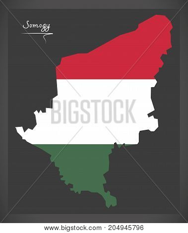 Somogy Map Of Hungary With Hungarian National Flag Illustration