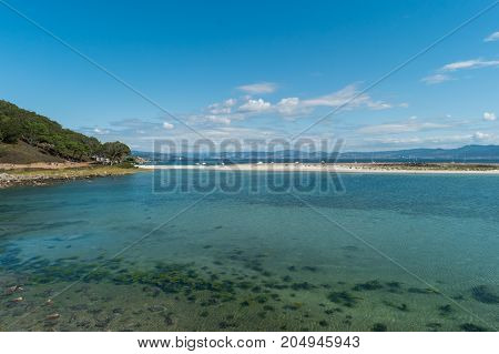 ISLAS CIES VIGO SPAIN - SEPTEMBER 16 2017: View of the Playa de Rodas at Cies islands of Spain included in the Atlantic Islands of Galicia National Park.