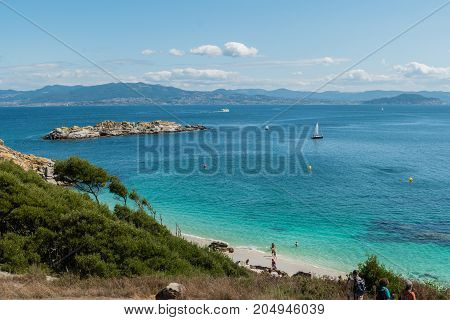 ISLAS CIES VIGO SPAIN - SEPTEMBER 16 2017: View of the Playa de Nossa Senora at Cies islands of Spain included in the Atlantic Islands of Galicia National Park