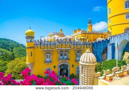 Beautiful architecture of Pena palace in Sintra, Portugal