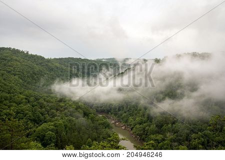 Fog over the Big South Fork of the Cumberland River after a rain.