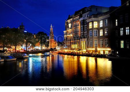 Amsterdam scenic view at night Holland Europe