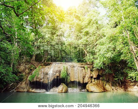 Landscape photo Erawan Waterfall beautiful waterfall in rainforest at Kanchanaburi province Thailand