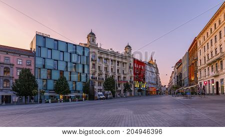 BRNO, CZECH REPUBLIC - AUGUST 23, 2017: Square in the old town of Brno, Czech Republic on August 23, 2017.