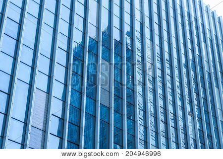 detail glass building background in urban city