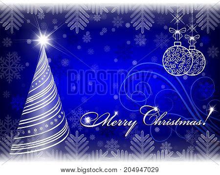 christmas blue background with christmas tree and christmas balls