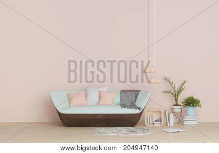 modern interior,model living room with sofa, pillows, lamp,vase with flowers on pink wall,the empty room 3D rendering.