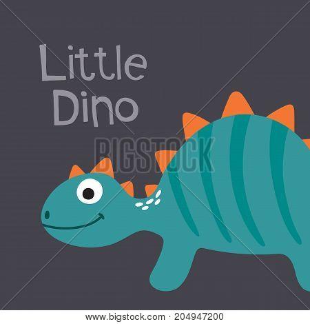 Cute cartoon dino vector illustration. Little dino