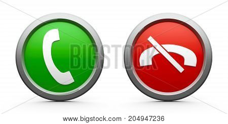 Web buttons with phone answer (green) & decline (red) isolated on white background three-dimensional rendering 3D illustration