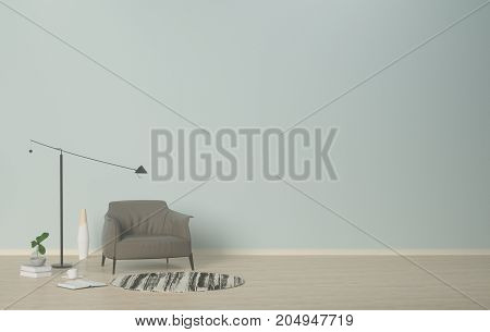 interior,Neutral interior with armchair and clean wall with lamp and vase on empty room 3D rendering.