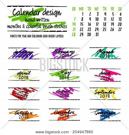 Calendar design by months with colorful hand drawn elements and hand written lettering on white background. Vector illustration