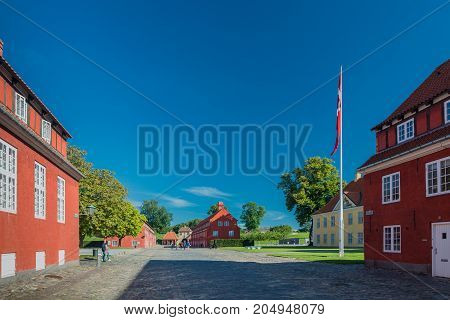 Copenhagen Denmark - september 3 2017: Kastellet (the citadel) is one of the best preserved star fortresses in Northern Europe. A number of buildings are located within the grounds of Kastellet.