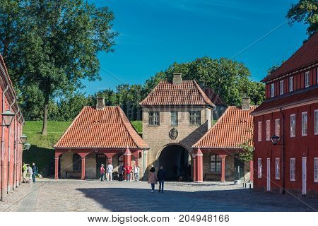 Copenhagen Denmark - september 3 2017: Kastellet (the citadel) is one of the best preserved star fortresses in Northern Europe. A number of buildings are located within the grounds of Kastellet including a church and a windmill.
