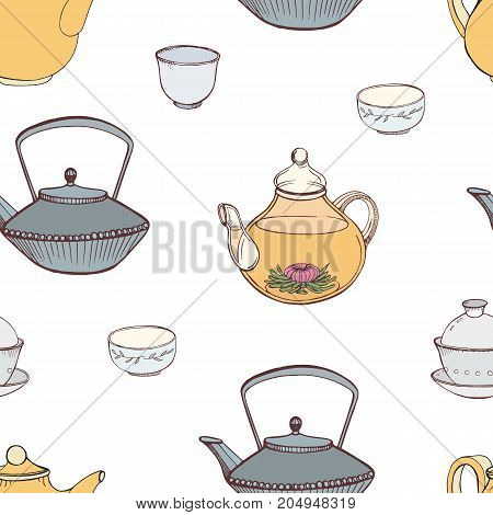Elegant seamless pattern with hand drawn traditional Japanese tea ceremony attributes - cast-iron kettle Tetsubin, teapot, cups or bowls. Colorful vector illustration for textile print, wallpaper