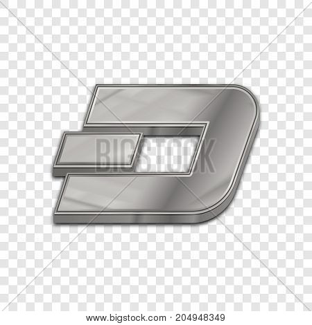 Silver dash coin symbol isolated web vector icon. Dash coin trendy 3d style vector icon. Raised symbol illustration. Silver dash coin crypto currency sign.