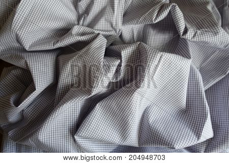 Folded Light Grey Classic Chequered Cotton Fabric