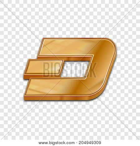 Golden dash coin symbol isolated web vector icon. Dash coin trendy 3d style vector icon. Raised symbol illustration. Golden dash coin crypto currency sign.