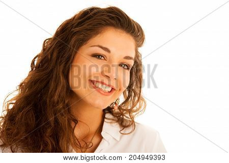 Attractive Beautiful Teenage Woman In Casual Summer Dress Isolated Over White
