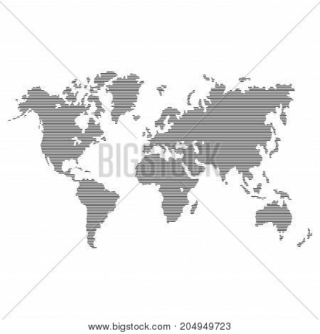 Striped Gray World Map on White Background. Vector illustration
