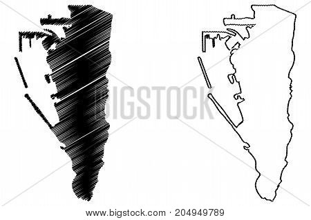 Gibraltar map vector illustration , scribble sketch Gibraltar