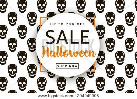 Skulls background. Halloween sale banner poster. Vector illustration