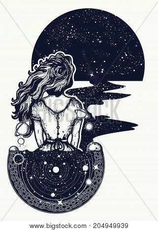 Magic Woman Tattoo And T-shirt Design. Woman In Space Tattoo Art. Surreal Girl Sinks In Universe. Sy
