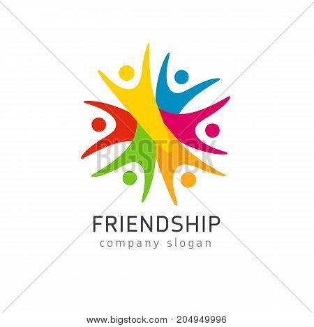 Colorful happy people logo. Vector concept of children playing together or team building or education group activity