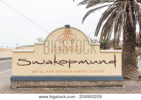 SWAKOPMUND NAMIBIA - JUNE 30 2017: Entrance to the Swakopmund Hotel Casino and entertainment Cente in Swakopmund in the Namib Desert on the Atlantic Coast of Namibia