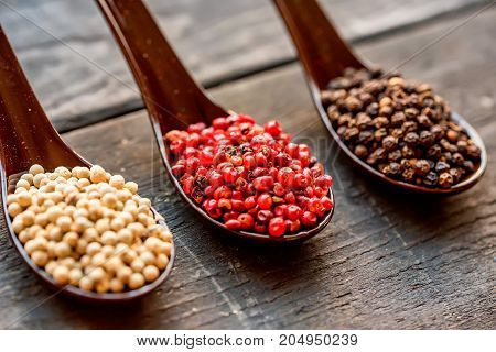 Close up studio shot of assorted peppercorn in spoons on dark background
