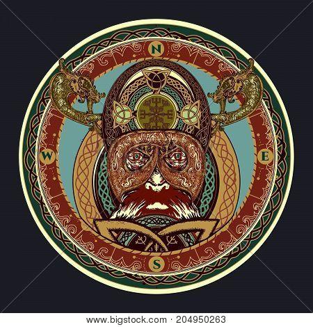 Viking Color Tattoo, Ring With Scandinavian Ornament. Viking Warrior Head T-shirt Design. Celtic Amu