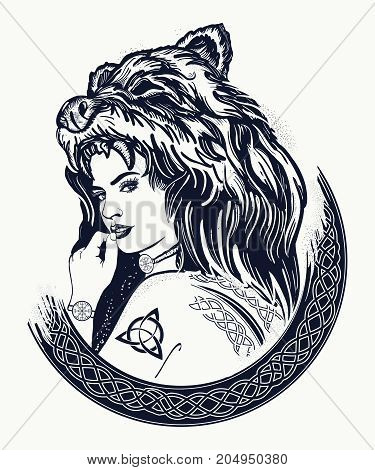 Warrior Woman Tattoo. Tribal Strong Woman In A Skin Of A Bear.  Symbol Of Scandinavia, Valhhala, Val