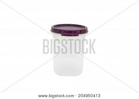 Close up modern plastic food cup isolated on white background