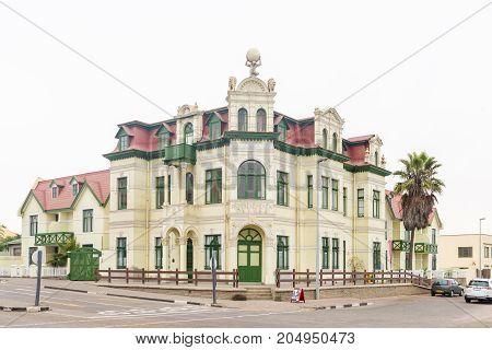 SWAKOPMUND NAMIBIA - JUNE 30 2017: The historic Hohenzollernhaus built 1904 to 1906 in Swakopmund in the Namib Desert on the Atlantic Coast of Namibia