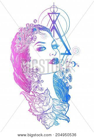 Art Nouveau Woman Tattoo And T-shirt Design. Beautiful Glamourous Vintage Woman Vector. Symbol Of A