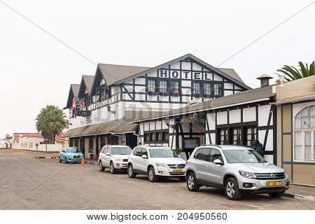 SWAKOPMUND NAMIBIA - JUNE 30 2017: A street scene with the Hotel Europahof and restaurant in Swakopmund in the Namib Desert on the Atlantic Coast of Namibia