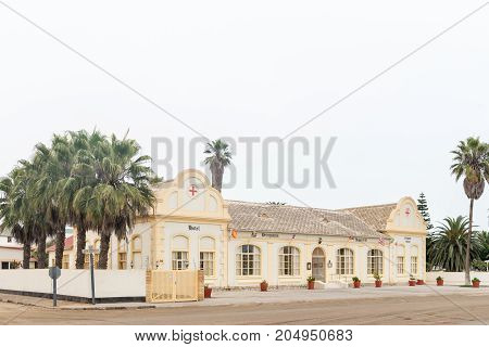 SWAKOPMUND NAMIBIA - JUNE 30 2017: The Hotel Prinzessin Rupprecht previously a German colonial hospital in Swakopmund in the Namib Desert on the Atlantic Coast of Namibia