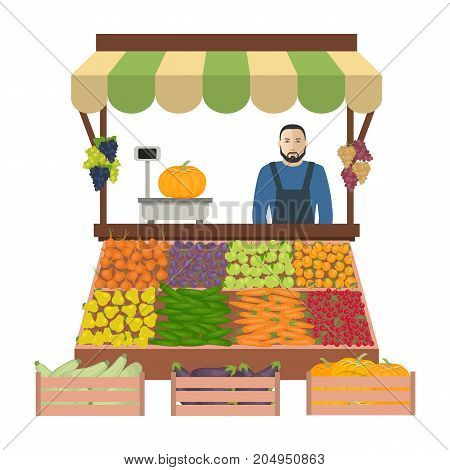 Seller of vegetables and fruits on the market. There is a counter, scales and goods: cucumbers, onions, carrots, pumpkin, eggplant, zucchini, apples, plums, grapes and cherries in the image. Vector
