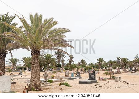 SWAKOPMUND NAMIBIA - JUNE 30 2017: Part of the cemetry in Swakopmund in the Namib Desert on the Atlantic Coast of Namibia.