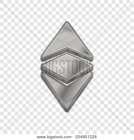 Silver ethereum classic coin symbol isolated web vector icon. Ethereum classic coin trendy 3d style vector icon. Raised symbol illustration. Silver ethereum classic coin crypto currency sign.