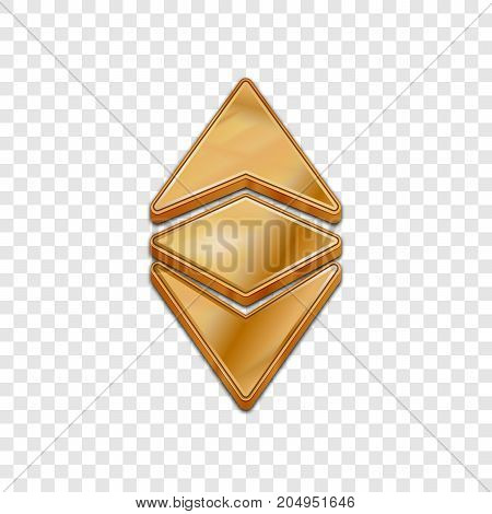 Golden ethereum classic coin symbol isolated web vector icon. Ethereum classic coin trendy 3d style vector icon. Raised symbol illustration. Golden ethereum classic coin crypto currency sign.