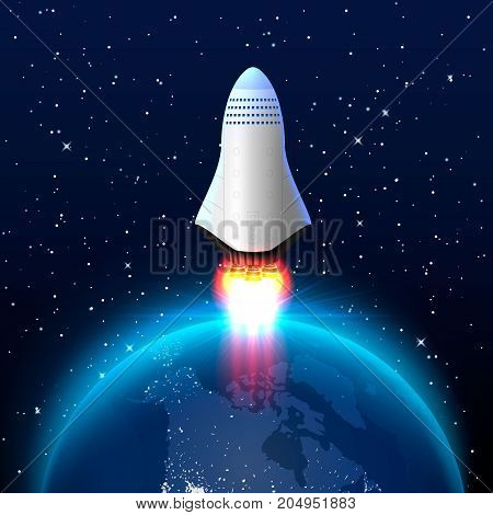 Space red rocket launch creative art, planetary startup. Vector illustration