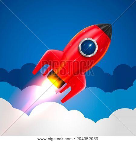 Space rocket launch, Startup creative idea, Rocket background, Vector illustration