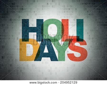 Holiday concept: Painted multicolor text Holidays on Digital Data Paper background