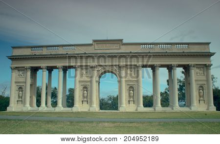 Beautiful colonnade in the Czech Republic. Historical architecture. On the background is blue sky.