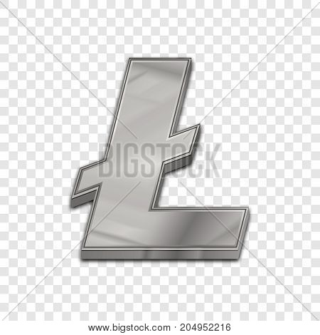 Silver litecoin symbol isolated web vector icon. Litecoin trendy 3d style vector icon. Raised symbol illustration. Silver litecoin crypto currency sign.