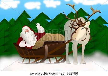 Santa Claus in a sleigh pulled by reindeer on a background.